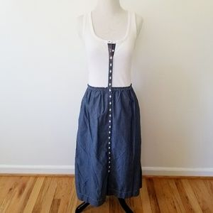 Gap Chambray & Jersey Knit Button-Up Dress